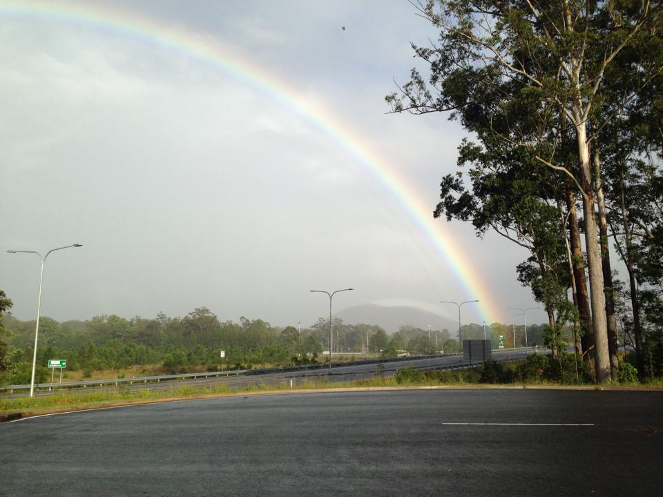Beautiful Rainbow over Beerwah this Morning