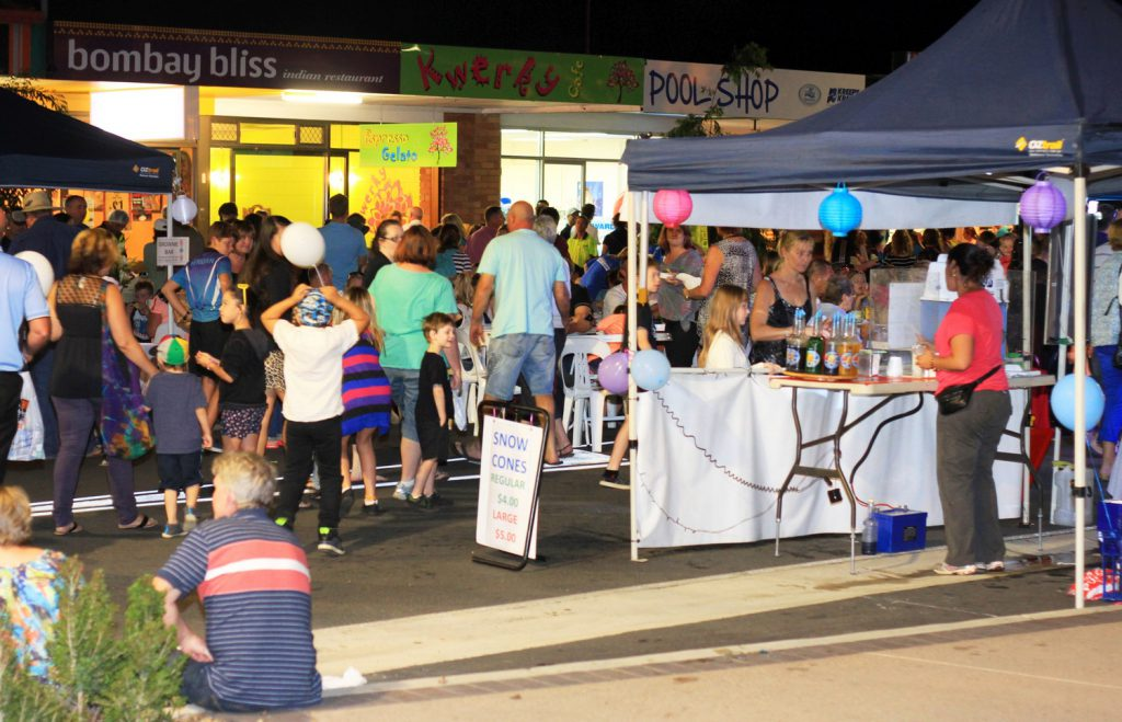 Crowds outside the Kwerky Cafe gathered for the Beerwah Street Celebration 2014