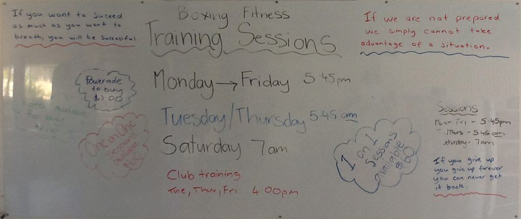 The Hinterland Boxing Club Notice Board on October 6th October 2014