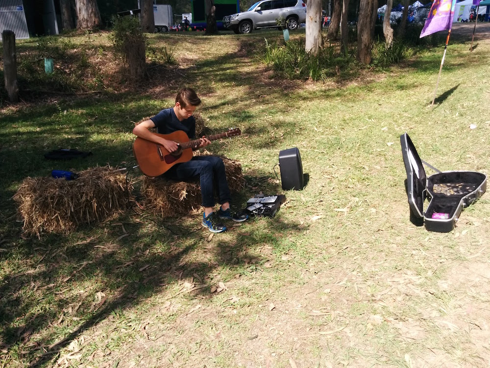 Busker at the Entrance of Moofest 2015