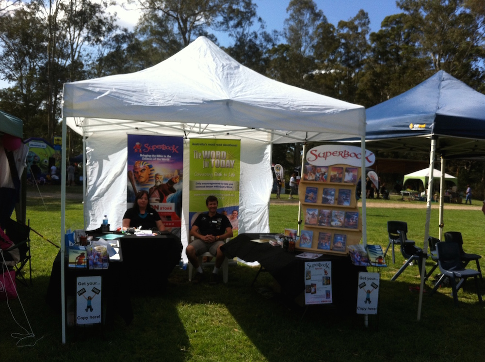 The SuperBook Tent Display at Moofest Mooloolah
