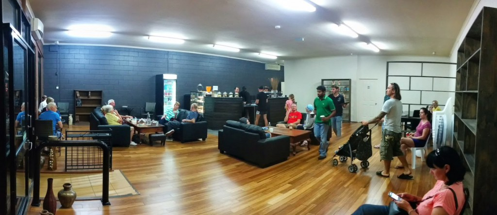Inside Steve Moon PANO of Coffee Shop at Beerwah Street Party 2014