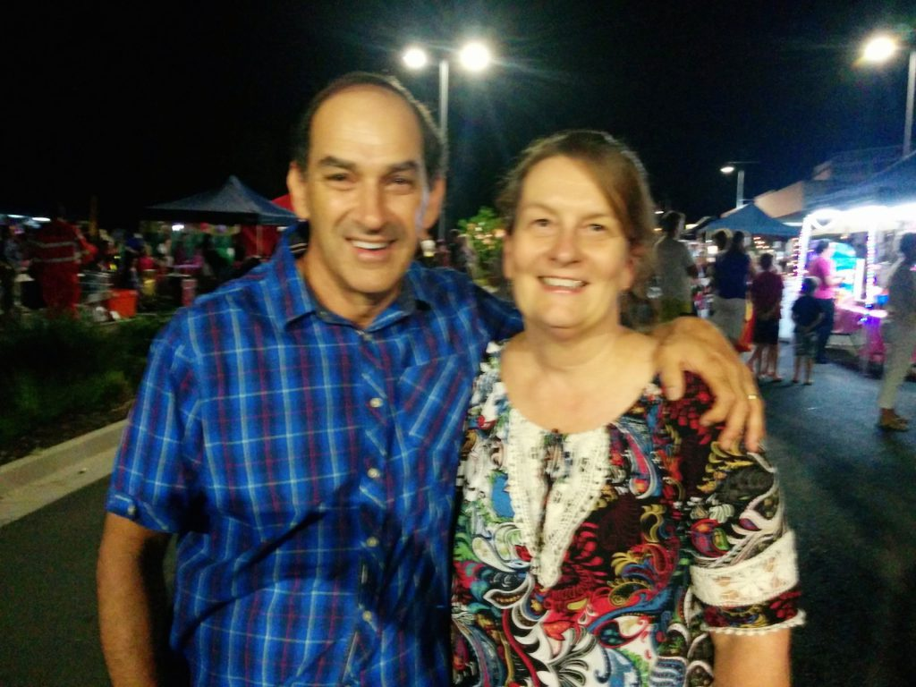 Mark and Linda both Local School Chapplains at the Beerwah Street Party 2014