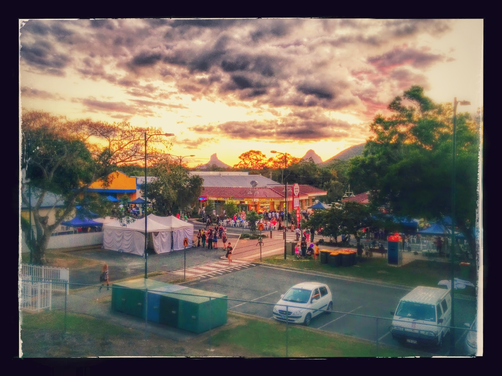 Sunset with the Glasshouse Mountains behind at the Beerwah Street Party 2014