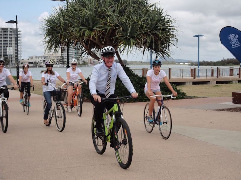 Get Out Get Active_Minister laughing with cyclist_7Nov2014