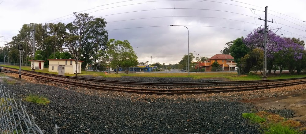 Looking from Simpson Street over towards the Beerwah Pumphouse and Beerwah Hotel 2014