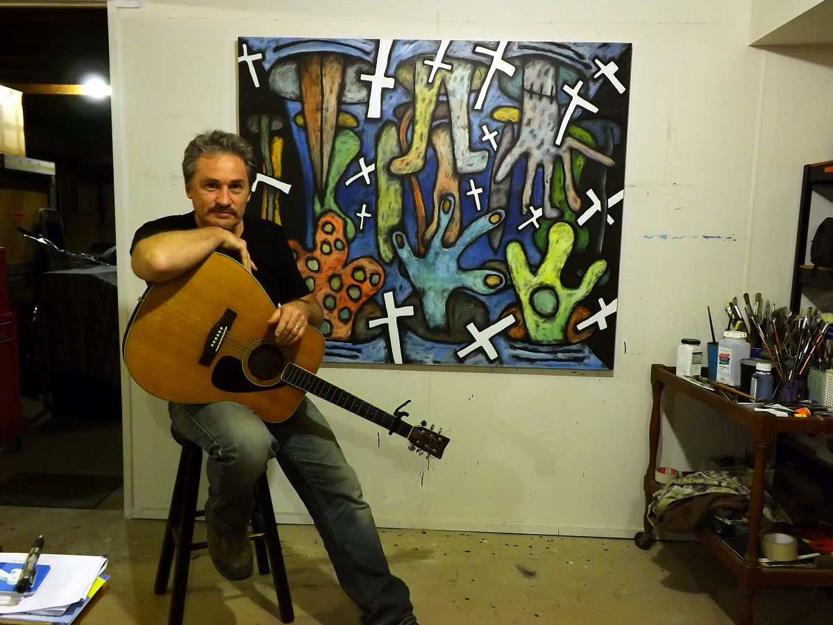 David Howard at home with his Music and Guitar