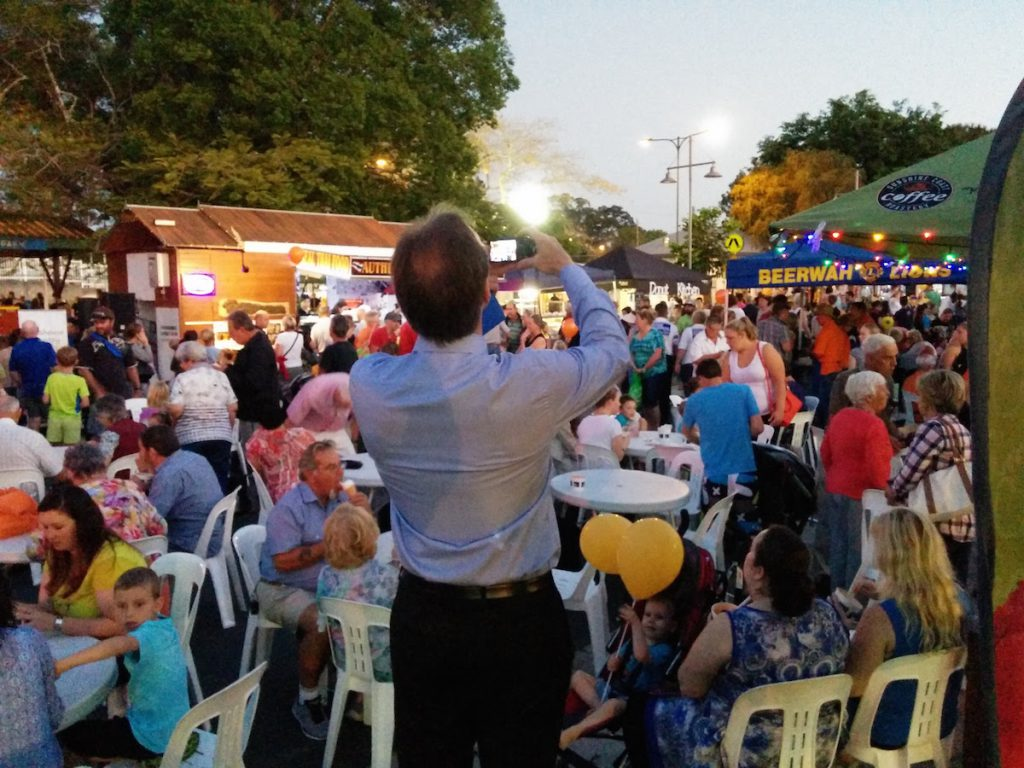 Cr Rick Baberowski at Beerwah Street Party 2015 - Beerwahs Favorite Counciler