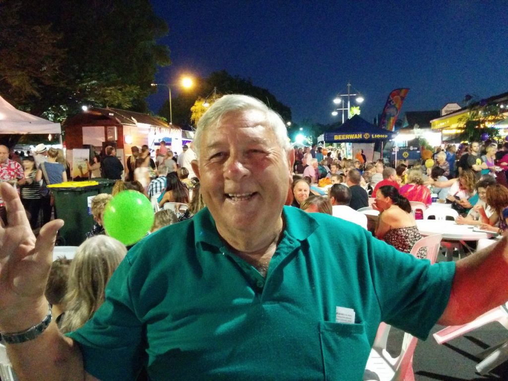 The indomitable local journalist John Jennings at the Beerwah Street Party 2015