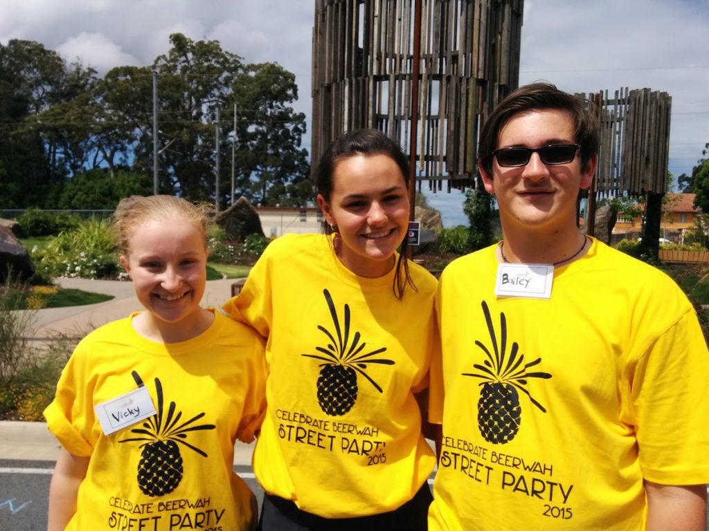 Volunteers from the local College Beerwah Street Party 2015