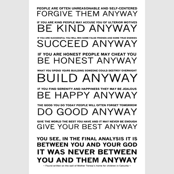 forgive them anyway mother teresa
