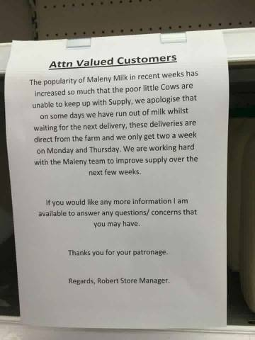 Maleny Dairies Note to Customers